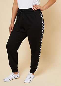 Plus Black Checkerboard High Waisted Knit Joggers