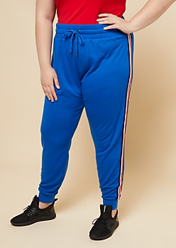 Plus Blue Athletic Tape Striped Pattern Joggers