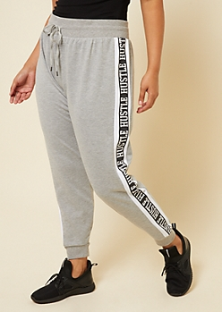 Plus Gray Hustle Colorblock Knit Joggers