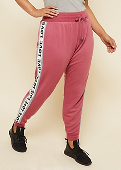 Plus Pink Love Colorblock Knit Joggers