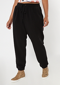 Plus Black Cozy Boyfriend Joggers