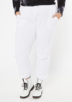Plus White Cozy Boyfriend Joggers