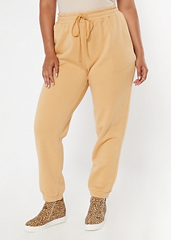 Plus Tan Cozy Boyfriend Joggers