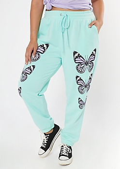 Plus Mint Butterfly Print Boyfriend Joggers