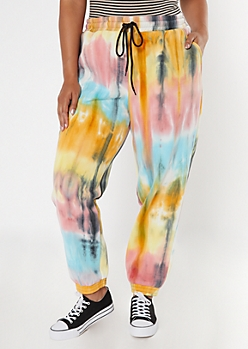 Plus Bright Tie Dye Cozy Boyfriend Joggers