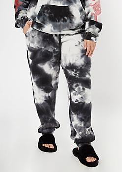 Plus Black Tie Dye Cozy Boyfriend Joggers
