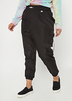 Plus Black Utility Savage Swishy Joggers