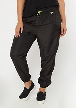 Plus Black Drippin Utility Swishy Joggers