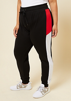 Plus Black Colorblock Stripe Knit Joggers