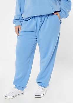 Plus Blue Cozy Boyfriend Joggers