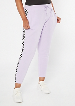 Plus Lavender Checkered Print Side Stripes Boyfriend Joggers