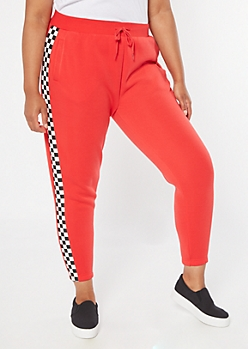 Plus Red Checkered Print Side Stripes Boyfriend Joggers