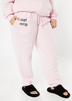 Plus Pink Angel Energy Embroidered Boyfriend Joggers