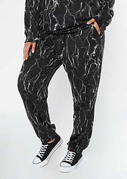 Plus Black Lightning Print Boyfriend Joggers
