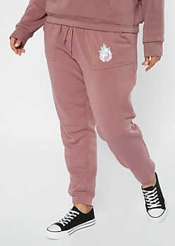 Plus Pink Flaming Yin Yang Embroidered Boyfriend Joggers