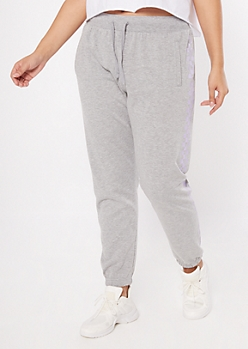 Plus Gray Checkered Print Joggers