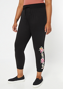 Plus Black Checkered Floral Print Joggers