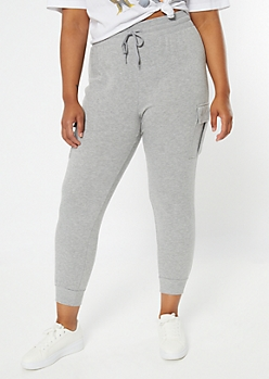Plus Gray Snap Cargo Pocket Joggers