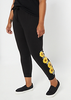 Plus Black Checkered Sunflower Print Joggers