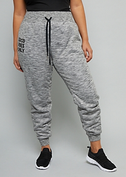 Plus Gray Space Dye Good Vibes Only Joggers