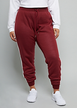 Plus Burgundy Sherpa Lined Side Striped Joggers