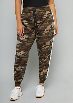 Plus Camo Print Sherpa Lined Side Striped Joggers