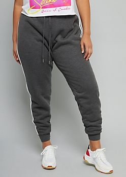 Plus Gray Sherpa Lined Side Striped Joggers