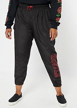 Plus Black Hustle Swishy Graphic Cargo Joggers