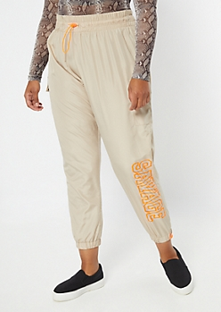 Plus Sand Savage Graphic Swishy Joggers