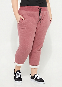 Plus Burgundy Sherpa Lined Joggers