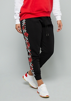 Plus Black Checkered Print Rose Side Striped Joggers