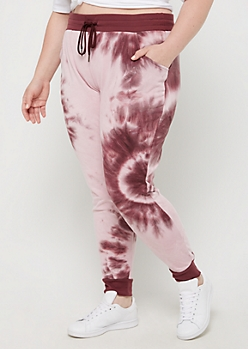 Plus Purple Tie Dye Knit Jogger