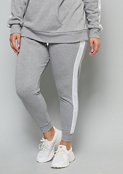 Plus Gray Metallic Good Vibes High Waisted Joggers