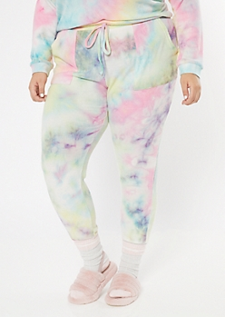Plus Rainbow Tie Dye Ribbed Knit Joggers