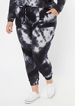 Plus Black Tie Dye Ribbed Knit Joggers