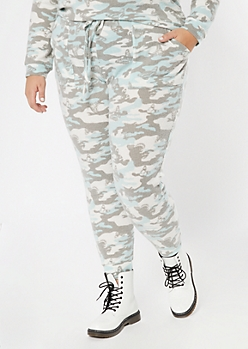 Plus Gray Camo Butterfly Print Ribbed Knit Joggers
