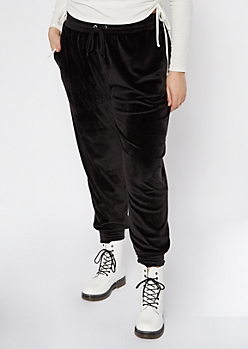 Plus Black Velour Joggers