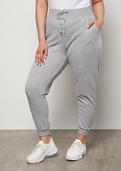 Plus Gray Lace Up Front Joggers