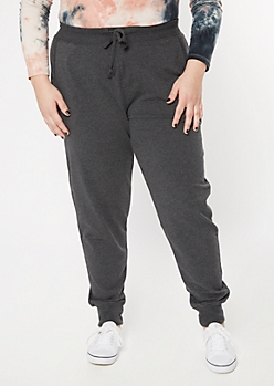 Plus Charcoal Terry Knit Joggers
