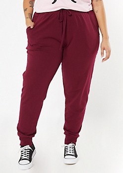 Plus Burgundy Terry Knit Joggers