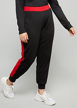 Plus Black Colorblock Side Striped Mid Rise Joggers