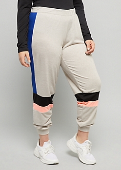 Plus Oatmeal Colorblock Side Striped Mid Rise Joggers