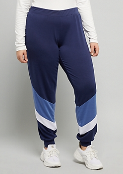 Plus Navy Colorblock Diagonal Striped Mid Rise Joggers