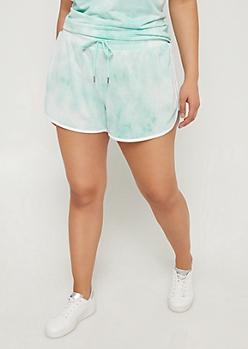 Plus Mint Tie Dye Dolphin Shorts