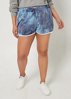 Plus Blue Tie Dye Dolphin Shorts