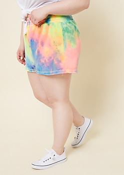 Plus Neon Tie Dye Drawstring Knit Shorts