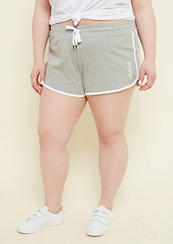 Plus Heather Gray Whatever Drawstring Dolphin Shorts
