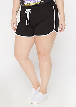 Plus Black Ribbed Knit Super Soft Dolphin Shorts