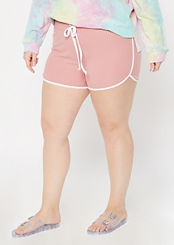 Plus Dusty Pink Ribbed Knit Super Soft Dolphin Shorts