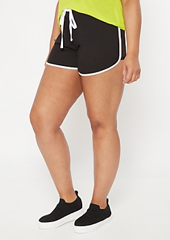 Plus Black Mesh Panel Super Soft Dolphin Shorts
